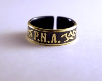 Brass Ring with your Monogram Initiales adjustable ring