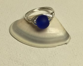 Royal Blue 8mm Sea Glass Silver Wire Wrapped Ring