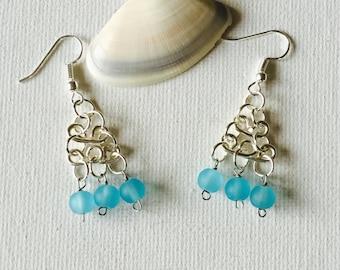 Triple Blue Sea Glass Silver Wire Tiered Dangling Earrings