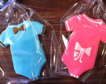 Boy or girl Baby shower cookies - pink or blue baby shower cookies - bow tie - edible party favors for sprinkles or showers-