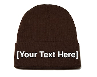 Custom Beanie, Custom Beanies, Custom Embroidered Beanie, Custom Beanie Hat, Brown