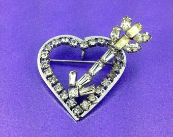 Vintage 'Phyllis' Rhinestone Heart and Arrow Brooch, Sterling Silver, Vintage Wedding, Bridal, Mother's Day Gift