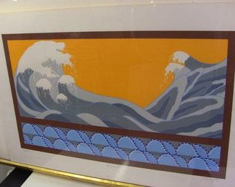 "Wave V by David Lavington 40"" x 26"" Silkscreen print - The Great Wave off Kanagawa Katsushika Hokusai Lithograph FREE SHIPPING Orange Blue"