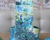 Peacock, turquoise, mini chest of drawers, decoupage