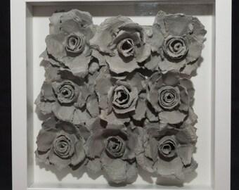 9 paper roses in white display frame 25 x 25 cm framed art shabby chic item# R1060