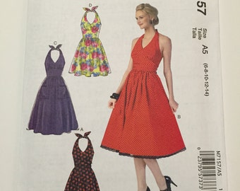 McCall's Retro Inspired Halter top Dress Sewing Pattern M7157 - AR sizes 6, 8, 10, 12, 14 - NEW, UNCUT