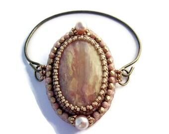Pink Opale Stiff embroidered bracelet, Pink and Golden Bracelet