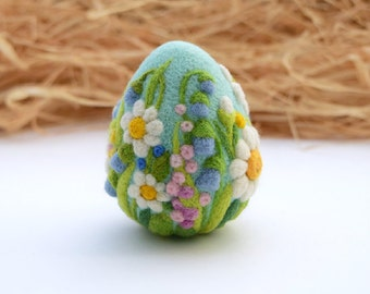 Easter Eggs Needle Felted Easter Ornaments Easter Decoration Easter Decorations Gift Eggs Ornaments with Flower