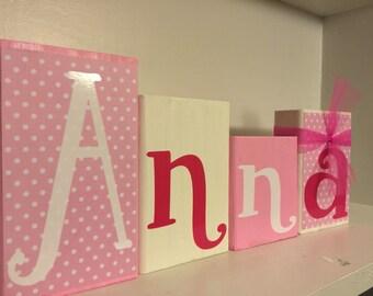 Pink Name Blocks, baby shower gift