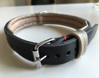Leather dog collar black 35-42 cm / 13,8 - 16,5 inch