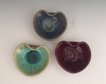 Heart Dishes, Wheel Thrown,  With Spiral Center.