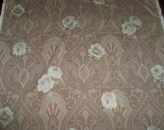CLARENCE HOUSE ETRO Paisley & Roses Cotton Fabric 3.5 Yard Remnant Cream Beige Cinnabar Multi