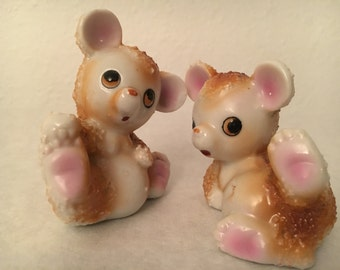Playful Bears Salt and Pepper Shakers Spaghetti Sugared Ceramic Japan