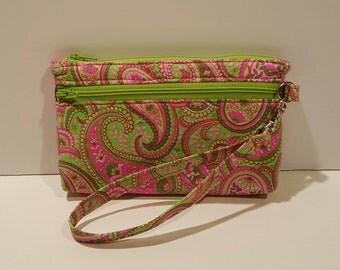 Pink & Green Paisley Wristlet