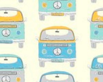"Fabric Freedom Retro Road Trip ""VW Bus"" Quilting Fabric Colorway 1 - By the Yard"