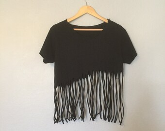 90'S Fringe Crop Top T-Shirt
