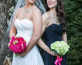 Gorgeous Bouquet SET!  Perfect for a small wedding party.  Bold tones of fuchsia and green with a 10 inch bridal bouquet.