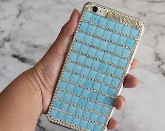 Luxury Light Blue Bling Rhinestone Hard Handcrafted Handmade 3D Cover Protective bling case LG V10, LG K7, Tribute 5, LG G Stylo LS770