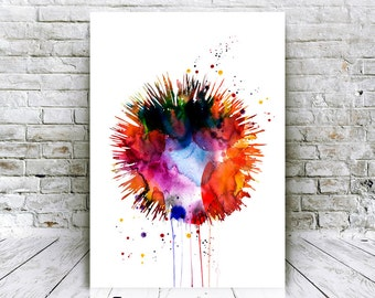 Sea Urchin Watercolor Poster - Instant Download Giclee Art Prints - Home Decor - Affordable Art Gifts