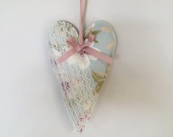 Pretty Vintage Shabby Chic Floral Fabric and Lace Hanging Heart, Mother's Day