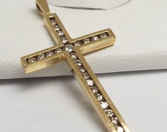 Estate Channel Set Diamond Cross Pendant, 10 kt yellow gold 0.50 ct