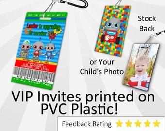 Robot Invitation PLASTIC Robot, Robot Invitation, Birthday Invitation, Birthday Invite, Robot Birthday Invitation