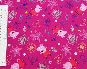 Peppa Pig Deep Pink Quilting Fabric - Fat Quarter or Yardage