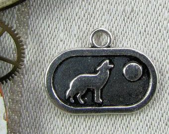 1 or 4, Howling Wolf, Wolf and Moon, Howling Wolf Charm, Wolf Charm, Wolf Moon, Wolf Pendant, Silver Wolf Pendant, Full Moon Charm, ANM104