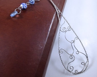 Silver Wire Wrapped Bookmark with blue dangle