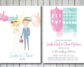 Custom and illustrated Wedding Invitations with Portrait and Skyline