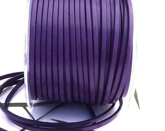 Flat purple leather 0,11 inches by 1 meter