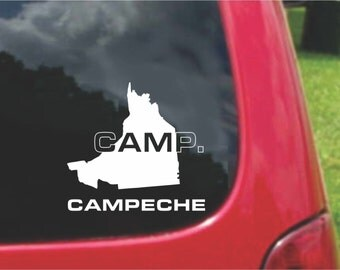 2 Pieces Campeche  Mexico Outline Map  Stickers Decals 20 Colors To Choose From.  U.S.A Free Shipping