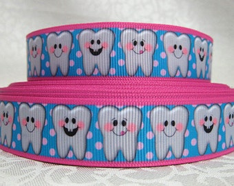 7/8 inch Happy TOOTH - Tooth Fairy Dentist lanyard- Polka Dots / Pink Border -  Printed Grosgrain Ribbon