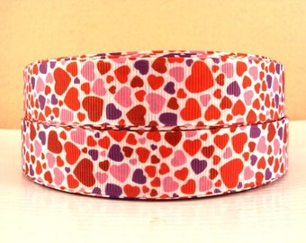 7/8 inch Bunch of Hearts Red Pink Purple Valentine's Day Love - Printed Grosgrain Ribbon for Hair Bow