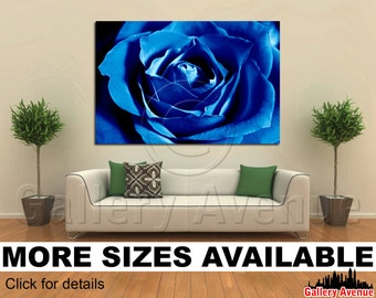 Wall Art Giclee Canvas Picture Print Gallery Wrap Ready to Hang - Deep Blue Rose - 60x40 48x32 36x24 24x16 18x12 3.2