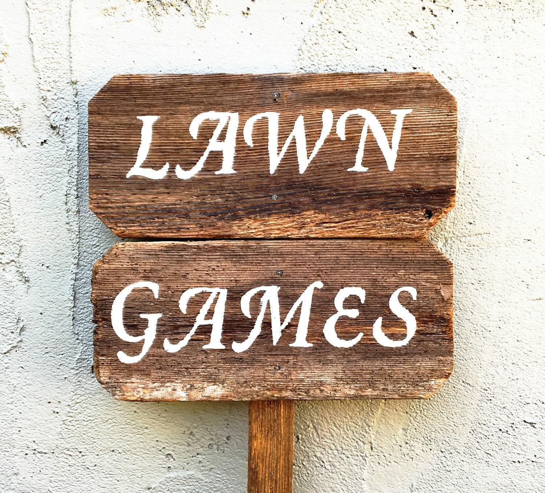 lawn games sign lawn games wedding yard games rustic wooden