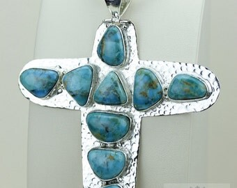 Huge Size! 5 inch Large KINGMAN TURQUOISE CROSS Hammered Finish 925 S0LID Sterling Silver Pendant + 4MM Snake Chain & Free Shipping P3494