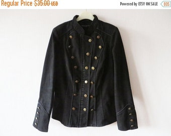 ON SALE Womens Black Marching Band Jacket Military Style Short Black Trenchcoat Buttons Closure Hussar Style MJ Michael Jackson Blazer Large