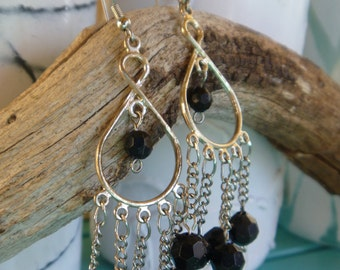 Black and silver chandler earings