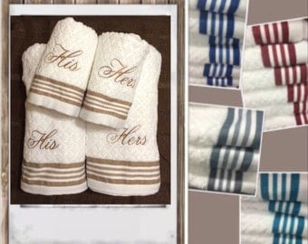 His & Hers Bath, Hand towels Set of (2), (4),(6) Bridal Shower Gift