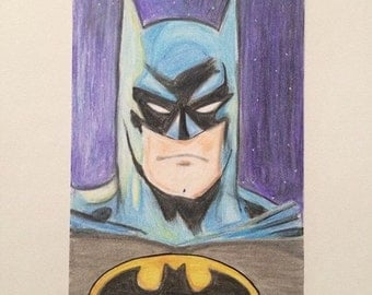 Batman fan art mixed media drawing