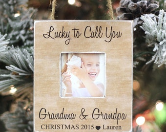 Grandparents Ornament Christmas GIFT Personalized Photo Ornament Gift Lucky to Call You Grandma and Grandpa