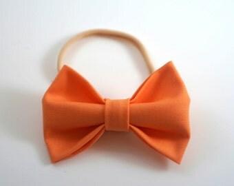 Orange Bow Headband. Orange Baby Bow. Baby Headband. Newborn Headband. Toddler Headband. Baby Photo Prop. Toddler Hair Bow. Baby Hair Bow.