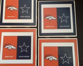 Customized ceramic coasters (pick your own house divided teams), House divided, Denver Broncos, Dallas Cowboys, Rivalry Gifts, Wedding Gifts