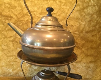 Brass Tea Kettle with Heating Stand