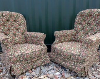 Pair of Antique Victorian Floral Buttoned Back Armchairs or Fireside Chairs