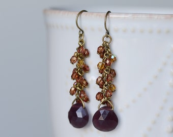 SALE -- Faceted Drop and Czech Glass Cluster Earrings, Burgundy, Luminous Brown Glass, Brass Cluster Earrings, Handmade Earrings
