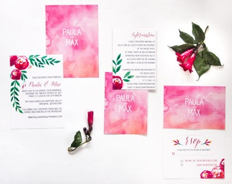 Modern Floral Water Color Wedding Invitations