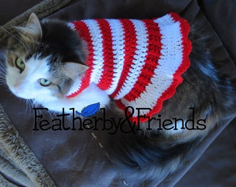 Pattern - Crochet Candy Cane Pet Sweater for Cats or Small Dogs