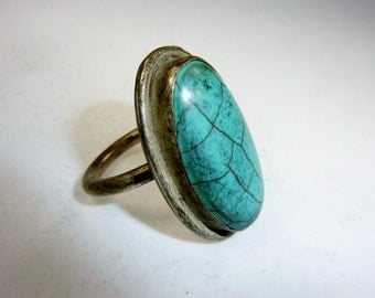 Big Ring with turquoise Stone, Vintage, Tribalring